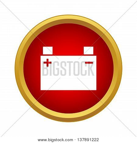 Machine battery icon in simple style in red circle. Electric power symbol
