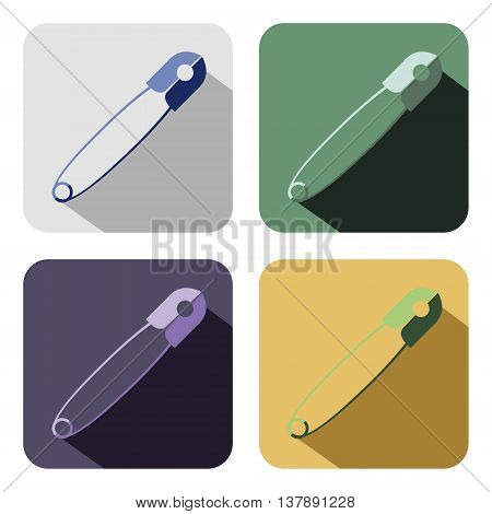 Vector icon. Set of colorful icons of pins isolated on the white background