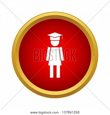 Female university student icon in simple style in red circle. Human symbol