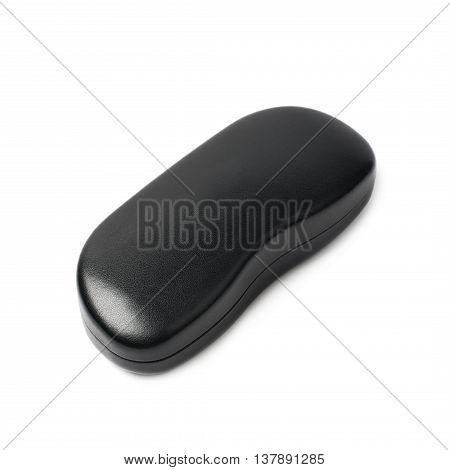 Black leather protection case box for glasses isolated over the white background