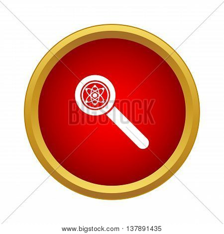 Magnifier icon in simple style in red circle. Zoom symbol
