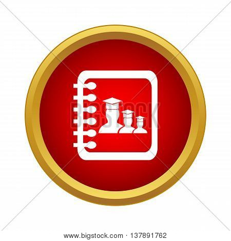 Gradebook students icon in simple style in red circle. Documents symbol