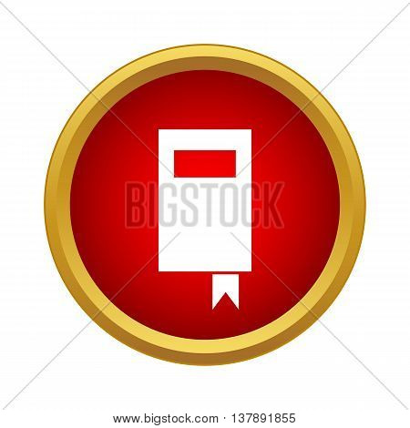 Book icon in simple style in red circle. Information and training symbol