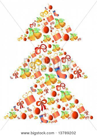Vector illustration of xmas-tree made of different presents