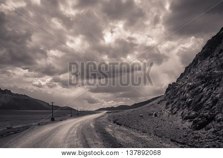 Mountain road through the Western Tibet, China