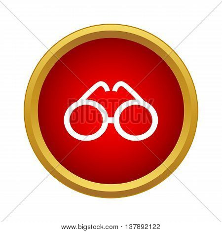 Glasses icon in simple style in red circle. Sun protection symbol