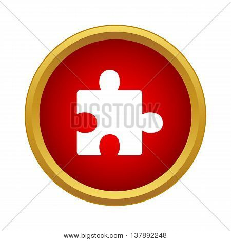 One puzzle icon in simple style in red circle. Game symbol