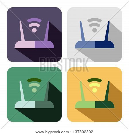 Vector icon. Set of colorful icons of router isolated on the white background