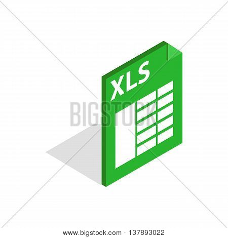 File format xls icon in isometric 3d style isolated on white background