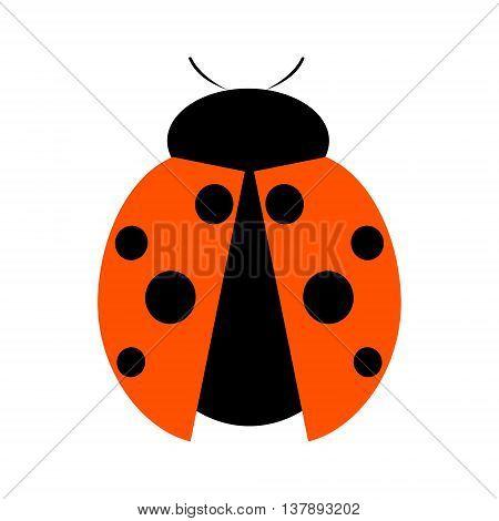 Vector illustration. Icon of ladybug isolated over white background