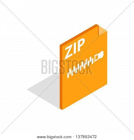 Archive ZIP format icon in isometric 3d style isolated on white background