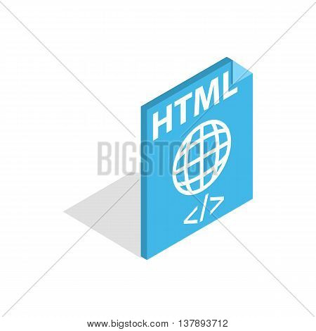 HTML file extension icon in isometric 3d style isolated on white background