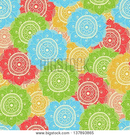 Seamless abstract hand-drawn waves pattern blue yellow red and green color. Seamless pattern can be used for pattern fills web page backgroundsurface textures. floral background