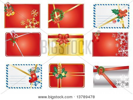 Vector illustration of collection of Christmas gift labels