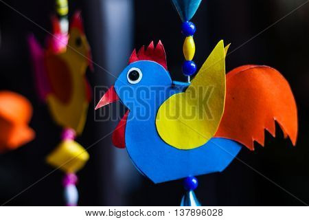 cute handicraft chicken mobile made from colored paper