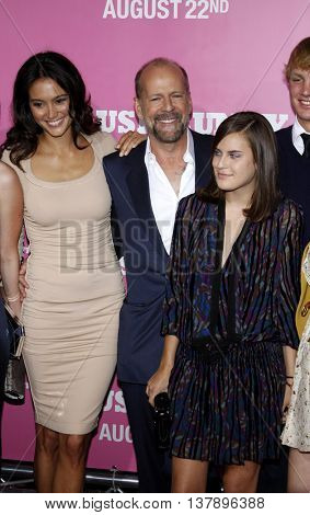 Tallulah Willis, Bruce Willis and Emma Heming at the Los Angeles premiere of 'House Bunny' held at the Mann Village Theatre in Westwood, USA on August 20, 2008.