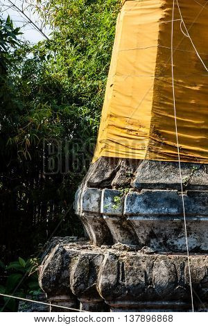 pagoda Thai with fabric clothing in Thailand