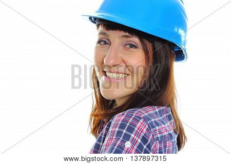 Smiling Builder Woman Wearing Protective Blue Helmet