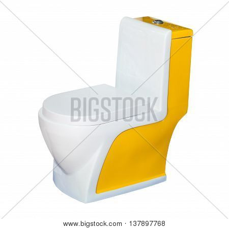Yellow toilet bowl isolated on white background