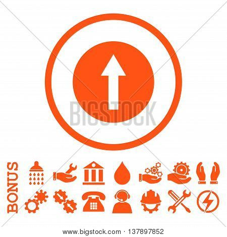 Up Rounded Arrow vector icon. Image style is a flat pictogram symbol inside a circle, orange color, white background. Bonus images are included.