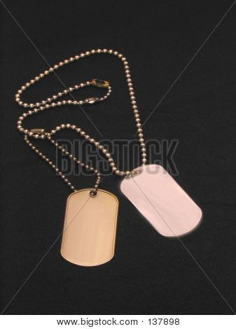 Dog Tags Over Black