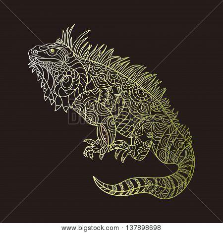 Vector hand drawn iguana. Ethnic tribal styled pattern.