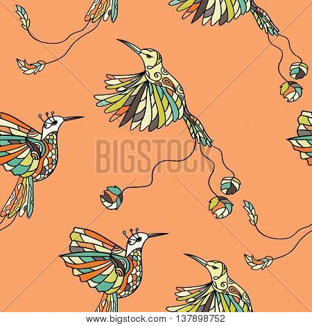 Seamless pattern with colibri. Colored tropical bird. Vector illustration. Tribal drawing.
