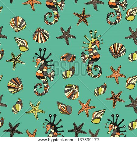 Seamless pattern with sea shells, starfish and sea horse. Summer vector illustration. Cartoon design.