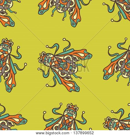 Small flies trendy illustrationon a briht background. Seamless pattern with bugs, Can be used for wallpaper, pattern fills, web page background, surface textures.