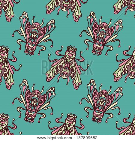 Small flies trendy illustrationon a blue background. Seamless pattern with bugs, Can be used for wallpaper, pattern fills, web page background, surface textures.