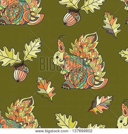Zentangle forest seamless pattern. Vector squirrel illustration. Hand painted squirrels, acorn, oak leaves green on a green background. Boho styled.