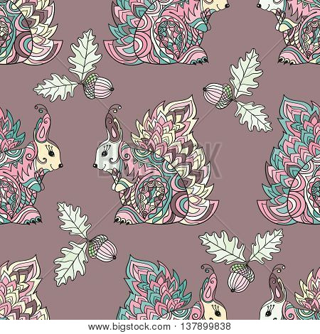 Zentangle forest seamless pattern. Vector squirrel illustration. Hand painted squirrels, acorn, oak leaves green on a purple background. Boho styled