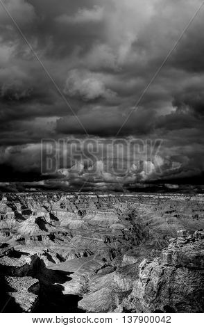 Late afternoon in the Grand Canyon Arizona black and white