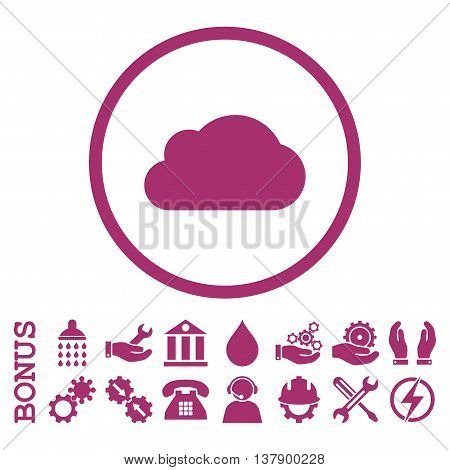 Cloud vector icon. Image style is a flat pictogram symbol inside a circle, purple color, white background. Bonus images are included.