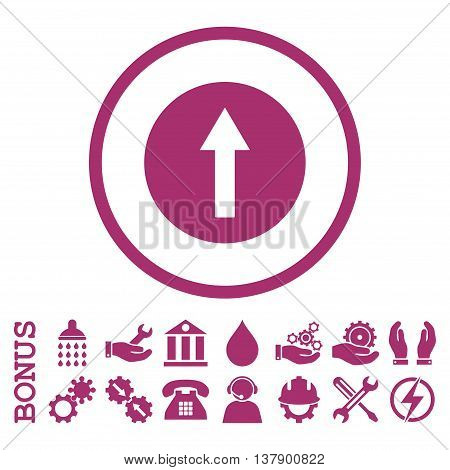 Up Rounded Arrow vector icon. Image style is a flat pictogram symbol inside a circle, purple color, white background. Bonus images are included.