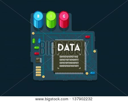 Big data concept. Circuit board with chips and connections. Data analysis technology. Flat vector illustration.