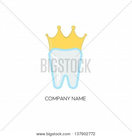 Tooth and a golden crown. Dentist business logo template. Vector.