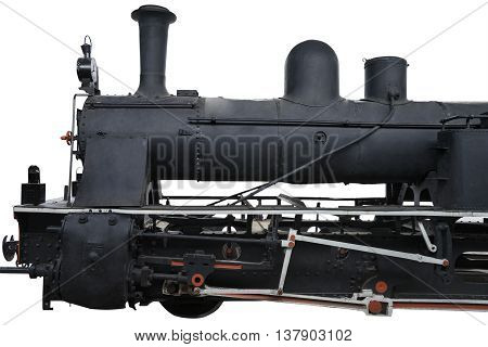 Image of old locomotive with steam tank isolated on white background