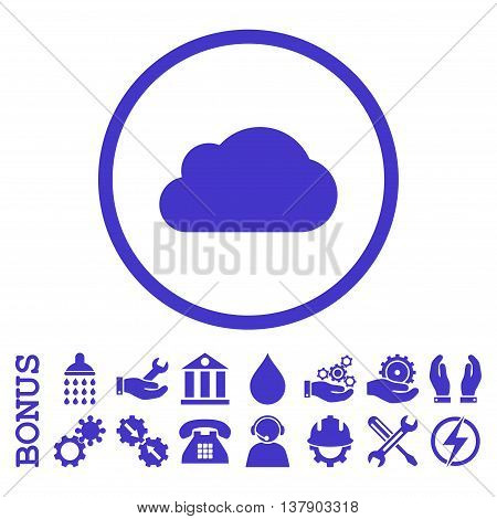 Cloud vector icon. Image style is a flat pictogram symbol inside a circle, violet color, white background. Bonus images are included.