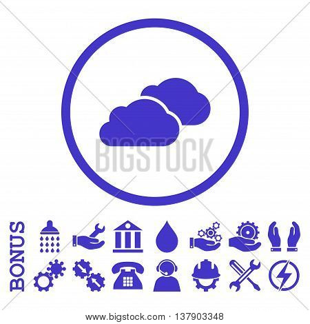 Clouds vector icon. Image style is a flat pictogram symbol inside a circle, violet color, white background. Bonus images are included.