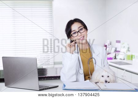 Portrait of female veterinarian smiling at the camera with maltese dog and laptop on desk