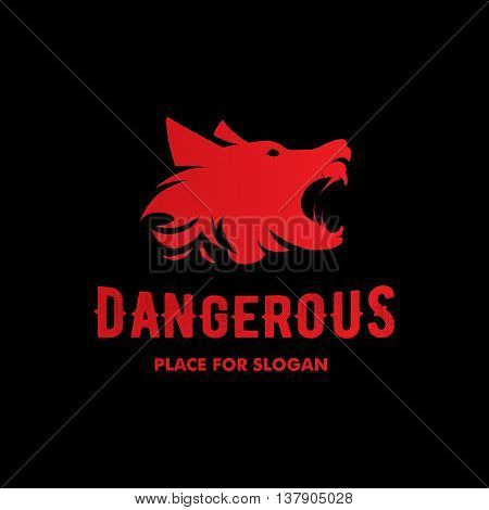 Isolated angry barking dog side view vector logo. Dangerous animal contour logotype. Fighting club emblem. Hound and watchdog illustration. Black and red color.