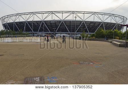 London England - May 27 2016: A view of the iconic Olympic Stadium sporting complex in the Queen Elizabeth Olympic Park in London England.