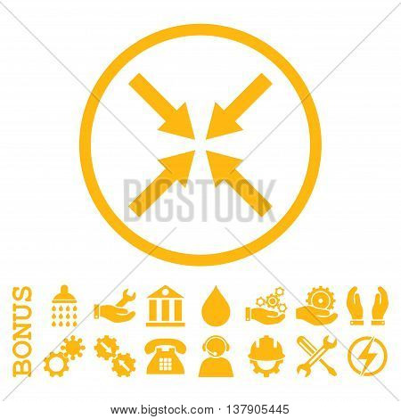 Center Arrows vector icon. Image style is a flat pictogram symbol inside a circle, yellow color, white background. Bonus images are included.
