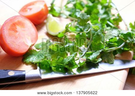 Cooking Mexican food: organic coriander cilantro herbs, tomatoes and a lime slice are on a chopping board with a knife. Very shallow depth of field. Bright, fresh colours.
