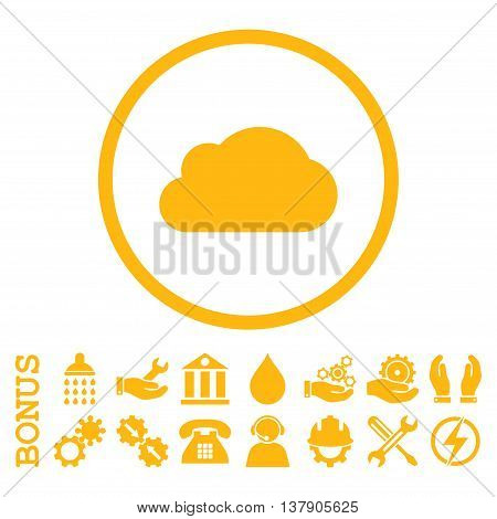 Cloud vector icon. Image style is a flat pictogram symbol inside a circle, yellow color, white background. Bonus images are included.