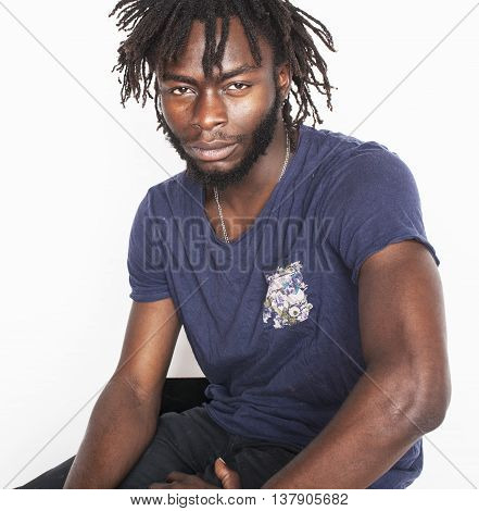 young attractive african american man isolated thinking emotional on white close up, lifestyle real people concept