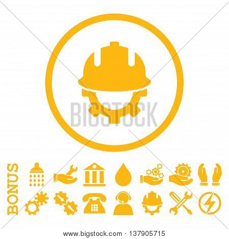 Development Helmet vector icon. Image style is a flat pictogram symbol inside a circle, yellow color, white background. Bonus images are included.