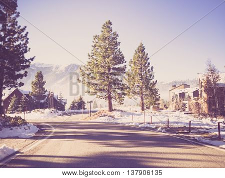 Way to Mammoth Lakes in Winter  ( Filtered image processed vintage effect. )