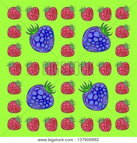 Frame made of raspberries and blackberries. Large blackberries in a small frame of raspberry